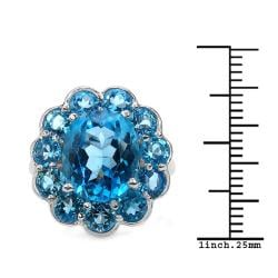 Malaika Sterling Silver 9.1ct TDW Blue Topaz Ring