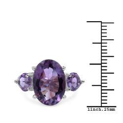 Malaika Sterling Silver 7.4ct TDW Amethyst Ring