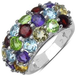 Malaika Sterling Silver 5.93ct TDW Multi Gemstone Ring