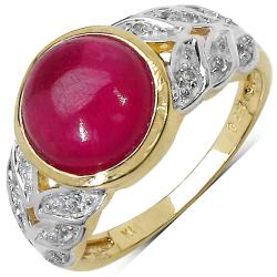 Malaika Yellow Gold Overlay Sterling Silver 5.11ct TDW Ruby and White Topaz Ring