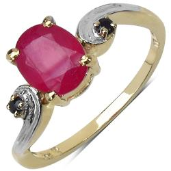 Malaika Yellow Gold Overlay Sterling Silver 1.68ct TDW Ruby and Black Spinel Ring