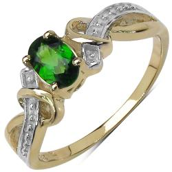 Malaika Yellow Gold Overlay Sterling Silver 0.47ct TDW Chrome Diopside Ring