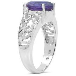 Malaika Sterling Silver 3.3ct TDW Amethyst Ring