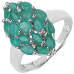 Malaika Sterling Silver 1.8ct TDW Emerald Ring