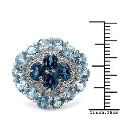 Malaika Sterling Silver 6.94ct TDW Blue Topaz and White Topaz Ring