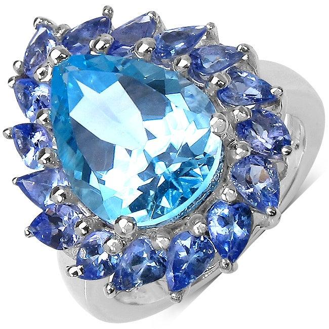 Malaika Sterling Silver 7.74ct TDW Blue Topaz and Tanzanite Ring