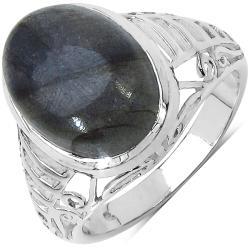 Malaika Sterling Silver 5.84ct TDW Labradorite Ring