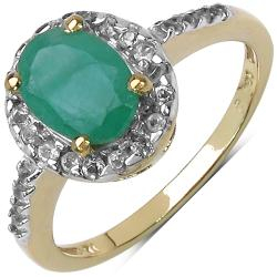 Malaika Yellow Gold Overlay Sterling Silver 1.72ct TDW Emerald and White Topaz Ring