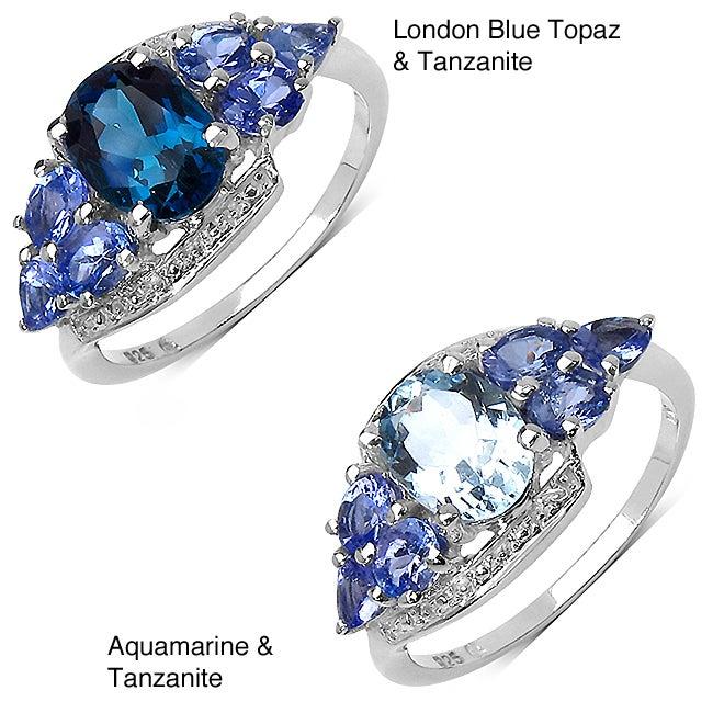 Malaika Sterling Silver 2.02ct TDW Aquamarine and Tanzanite Ring