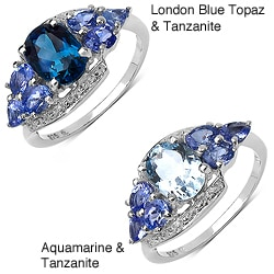 Malaika Sterling Silver 2.02ct TDW Aquamarine and Tanzanite Ring