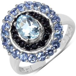 Malaika Sterling Silver 1.77ct TDW Aquamarine, Black Spinel and Tanzanite Ring