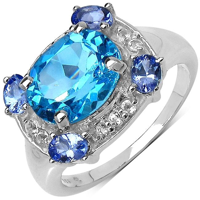 Malaika Sterling Silver 4.09ct TDW Blue Topaz, Tanzanite and White Topaz Ring