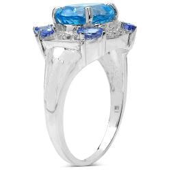Malaika Sterling Silver 4.09ct TDW Blue Topaz, Tanzanite and White Topaz Ring
