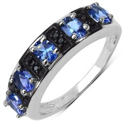 Malaika Sterling Silver 0.88ct TDW Tanzanite and Black Spinel Ring