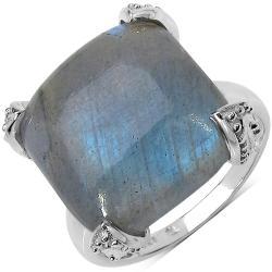 Malaika Sterling Silver 16.95ct TDW Labradorite Ring