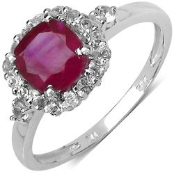 Malaika Sterling Silver 2ct TDW Ruby and White Topaz Ring