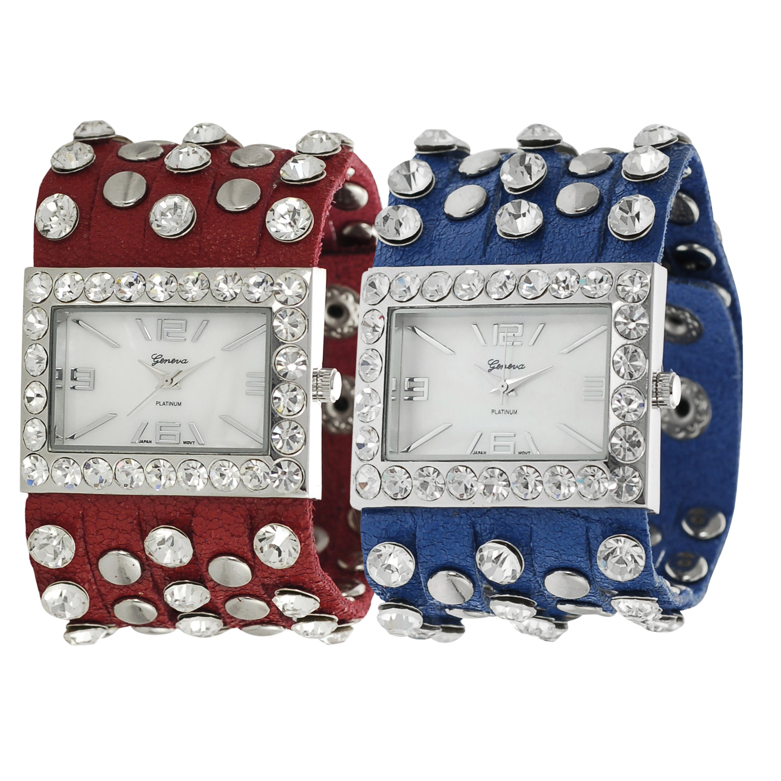 Geneva Platinum Women's Rhinestone Studded Simulated Leather Watch