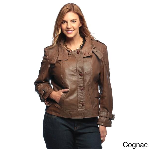 Collezione Italia Plus Size Women's Genuine Lamb Leather Jacket