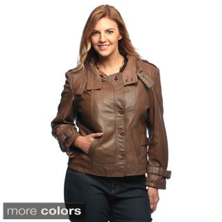 Collezione Italia Plus Size Women's Genuine Lamb Leather Jacket