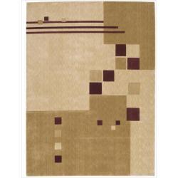 Nourison Parallels Geometric Beige Rug (9'6 x 13')