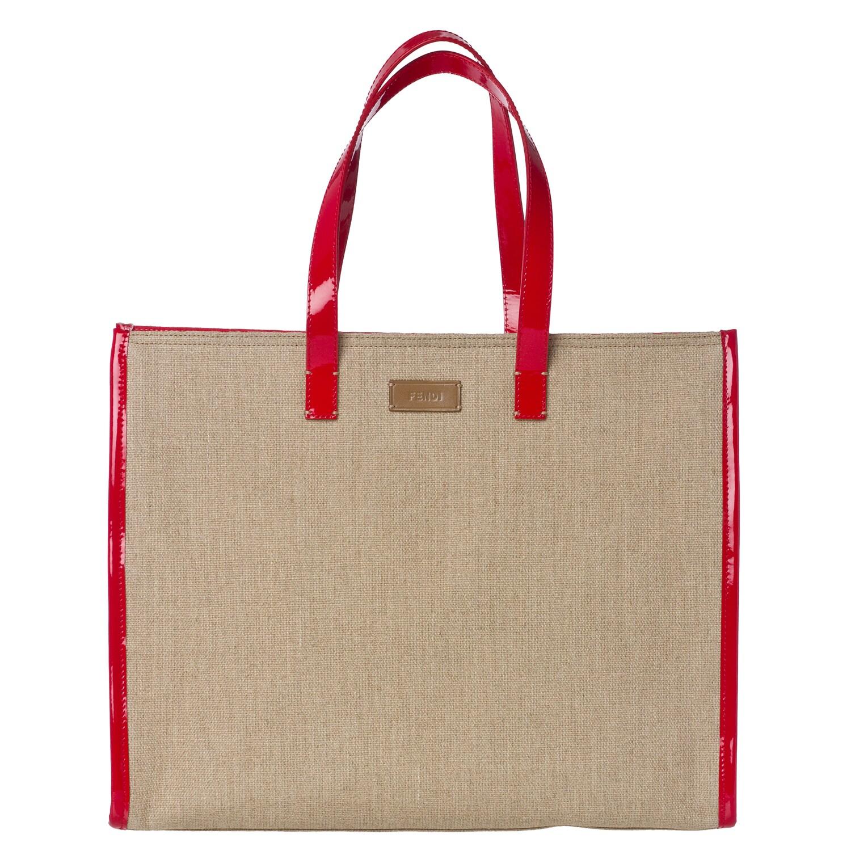Fendi Strawberry/ Tan Linen Tote Bag