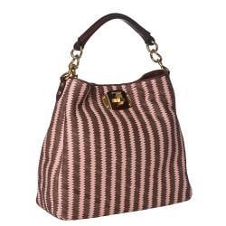 Miu Miu Pink/ Brown Woven Leather Hobo Bag