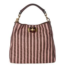 Miu Miu Pink/ Brown Woven Leather Hobo Bag