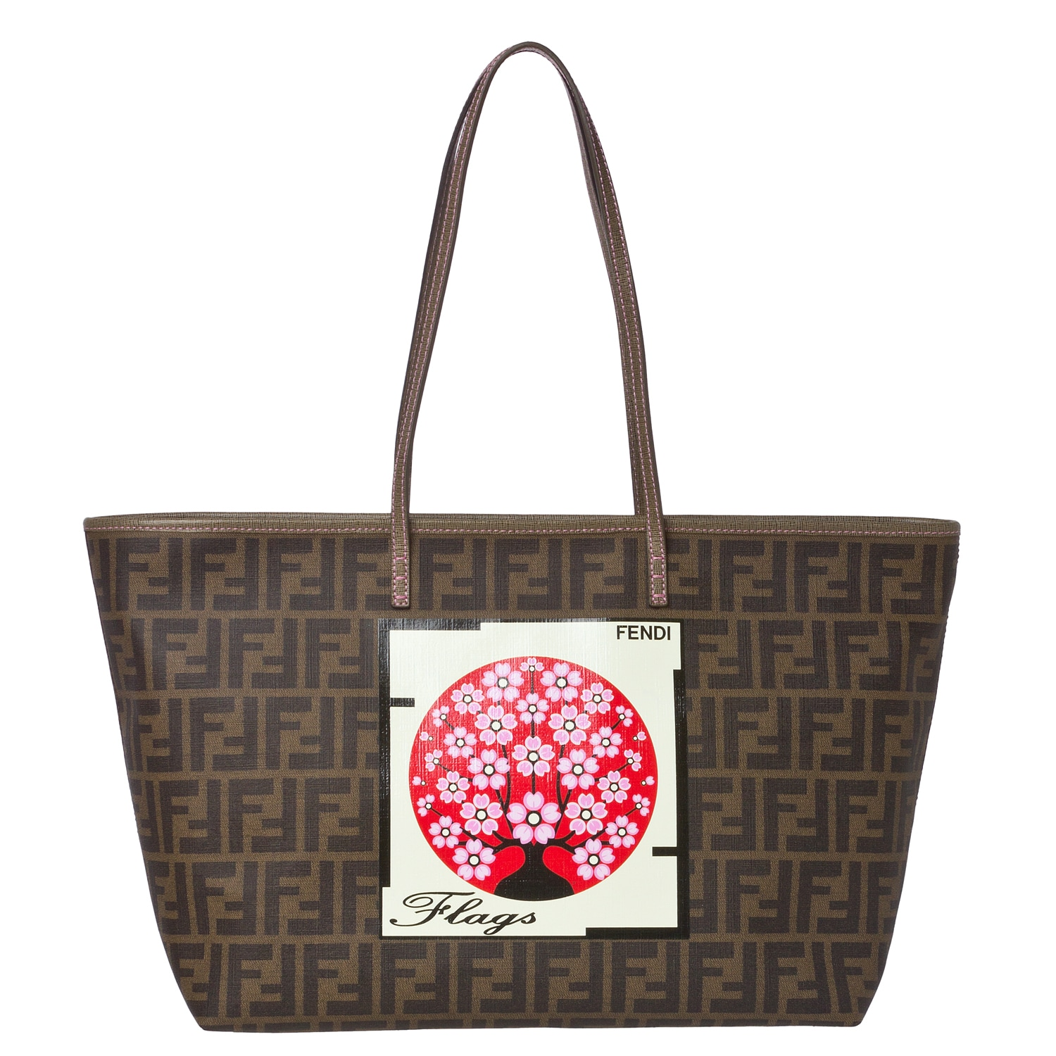 Fendi Logo Tobacco-brown Jacquard Canvas Japanese Flag Tote Bag
