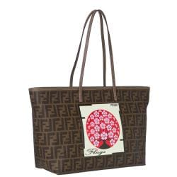 Fendi Logo Tobacco-brown Jacquard Canvas Japanese Flag Tote Bag