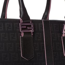 Fendi 'Zucchino' Black Canvas Tote Bag