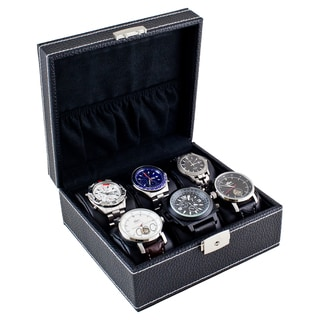 Compact Black Six Watch Case Box with Soft Adjustable Pillows