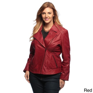 Collezione Women's Plus Leather Asymmetrical Jacket