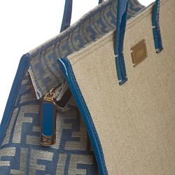 Fendi Blue/ Tan Linen Tote Bag