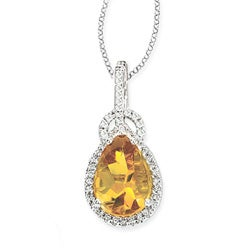 14k White Gold Citrine and 1/4ct TDW Diamond Necklace (G-H, SI1-SI2)