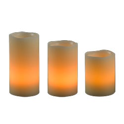Cream Finish Remote LED Candle Set