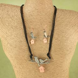Handcrafted Pewter Copper Birdhouse Necklace Set (India)