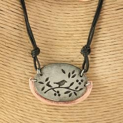 Handcrafted Pewter Copper Birds Branch Necklace Set (India)