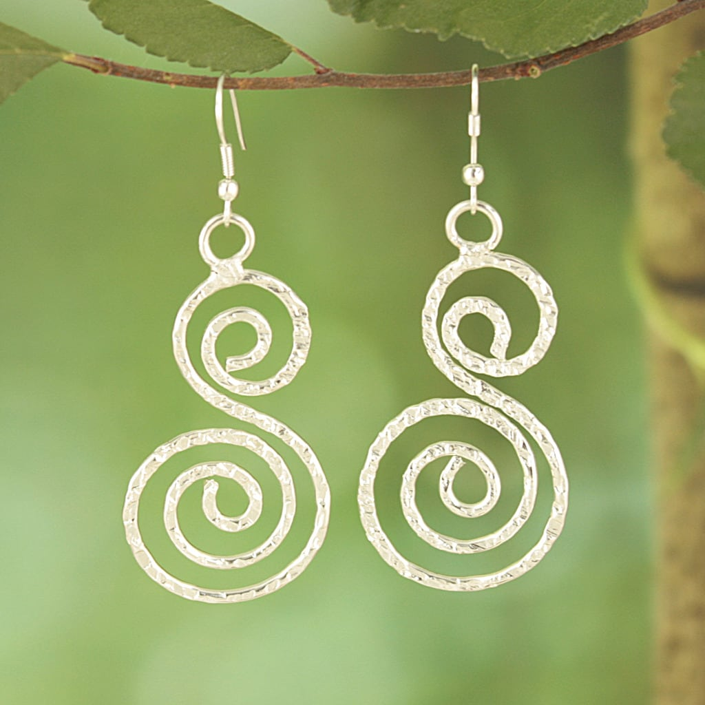 Handcrafted Silver Plated S Spirals Dangle Earrings (India)