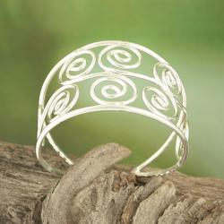 Handcrafted Silver Plated S Spirals Cuff Bracelet (India)