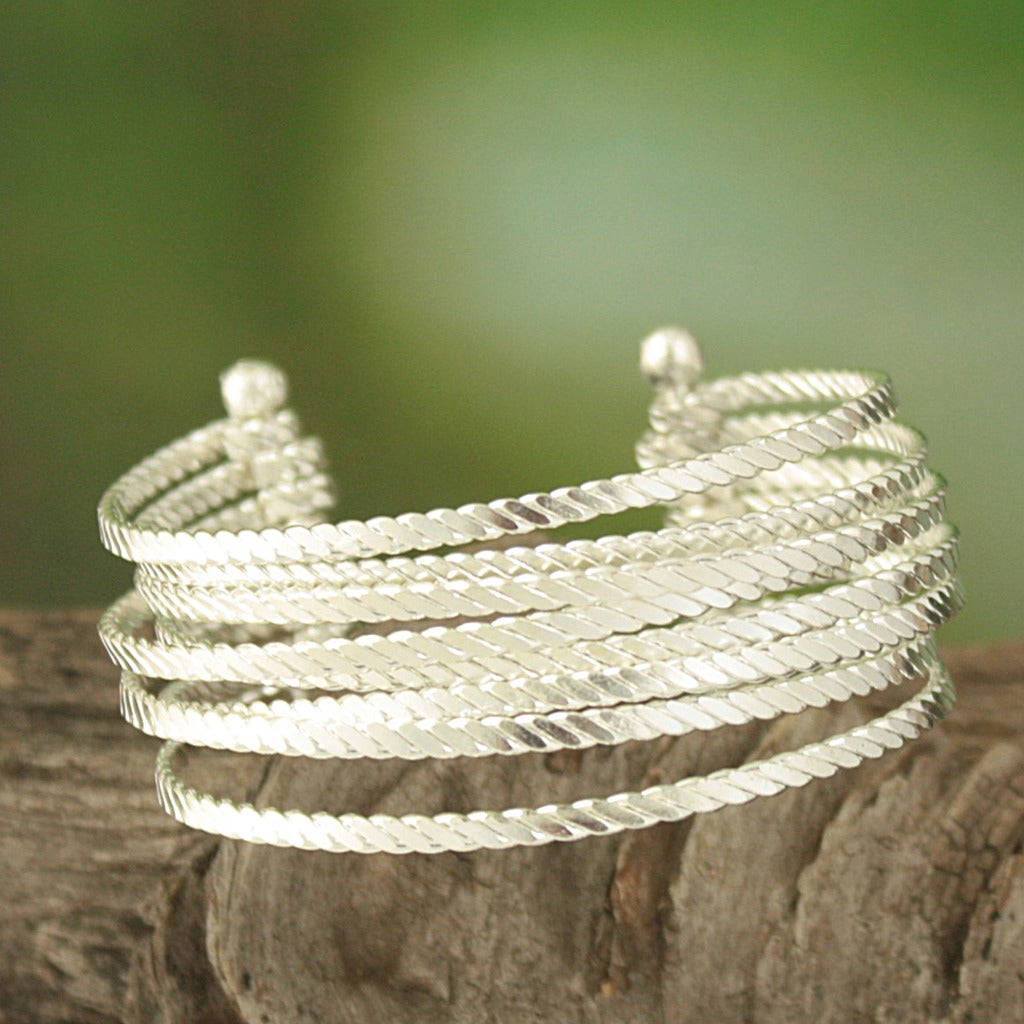 Handcrafted Silver Plated Textured Open Cuff Bracelet (India)