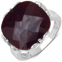 Malaika Sterling Silver Cushion-cut Ruby Ring