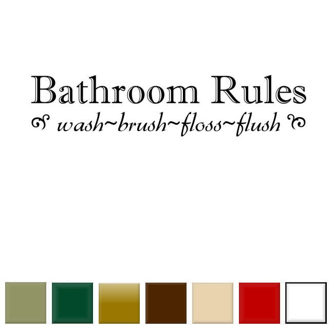 39 bathroom rules 39 vinyl wall art decal 14366695 for Bathroom quotes svg