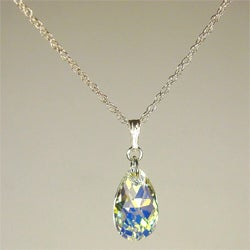 Jewelry by Dawn Small Aurora Borealis Crystal Pear Sterling Silver Necklace