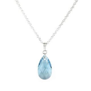Aquamarine Crystal Pear Sterling Silver Necklace