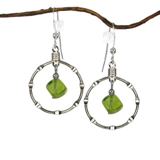 Jewelry by Dawn Olive Green Silver Hoop Earrings