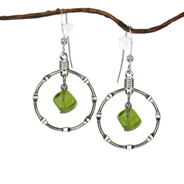 Jewelry by Dawn Olive Green Silver Hoop Earrings