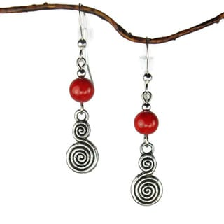 Red Riverstone With Double Swirl Drop Earrings