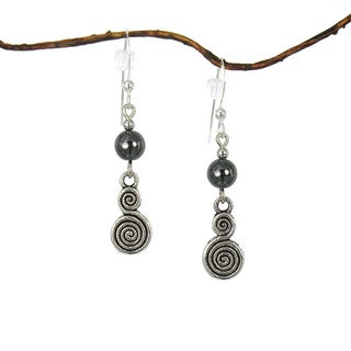 Jewelry by Dawn Hematite With Double Swirl Drop Earrings
