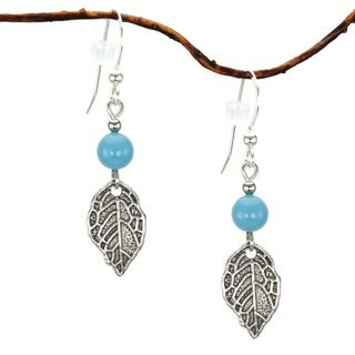 Turquoise with Leaf Sterling-silver Dangle Earrings