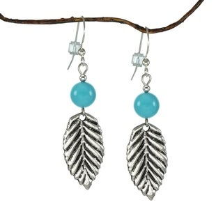 Jewelry by Dawn Crystal Blue Turquoise with Leaf Earrings